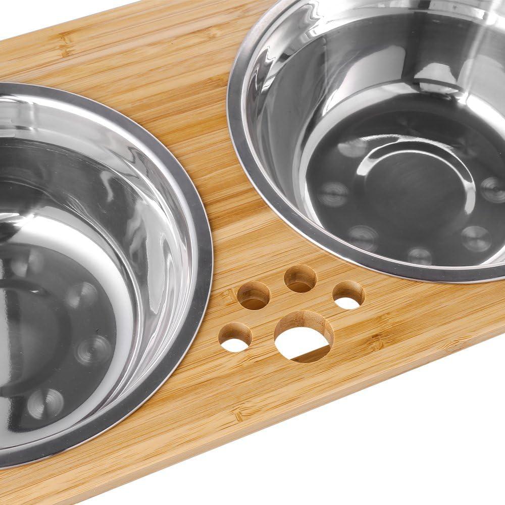 POPETPOP Cuencos Elevados para Mascotas Cuencos Elevados de Vidrio para Gatos con Soporte de Metal Platos de Alimentaci/ón para Perros Comedero de Soporte de Agua para Gatos Peque/ños