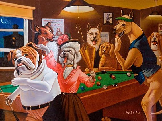 4 Impresión cómica enmarcar de perros jugando billar por Arthur Sarnoff: Amazon.es: Deportes y aire libre