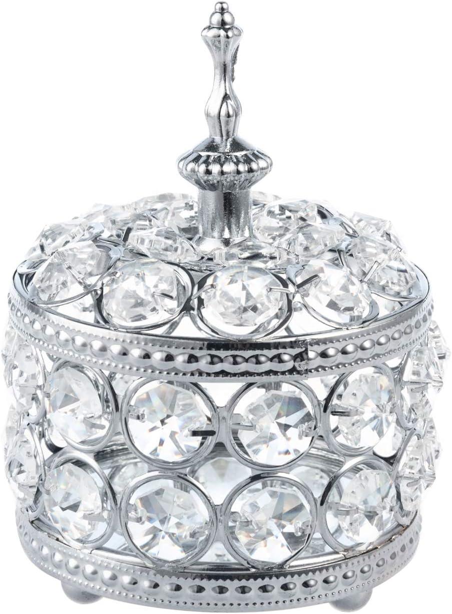 Feyarl Crystal Jewelry Box Trinket Organizer Earrings Rings Box Treasure Box Storage Keepsake Mirror Surface with Lid for Wedding Dresser Room Decor Christmas Birthday Gift(Silver)