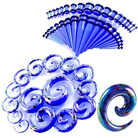 CHESUN Dilatadores Oreja Kit Pendientes Expansores Tipo Plug 14G-12Mm Espirales Acrílico Expansor 52 Paquetes,Púrpura, Azul, Blanco,White: Amazon.es: Hogar