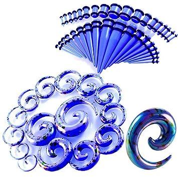 CHESUN Dilatadores Oreja Kit Pendientes Expansores Tipo Plug 14G-12Mm Espirales Acrílico Expansor 52 Paquetes,Púrpura, Azul, Blanco,Blue: Amazon.es: Hogar