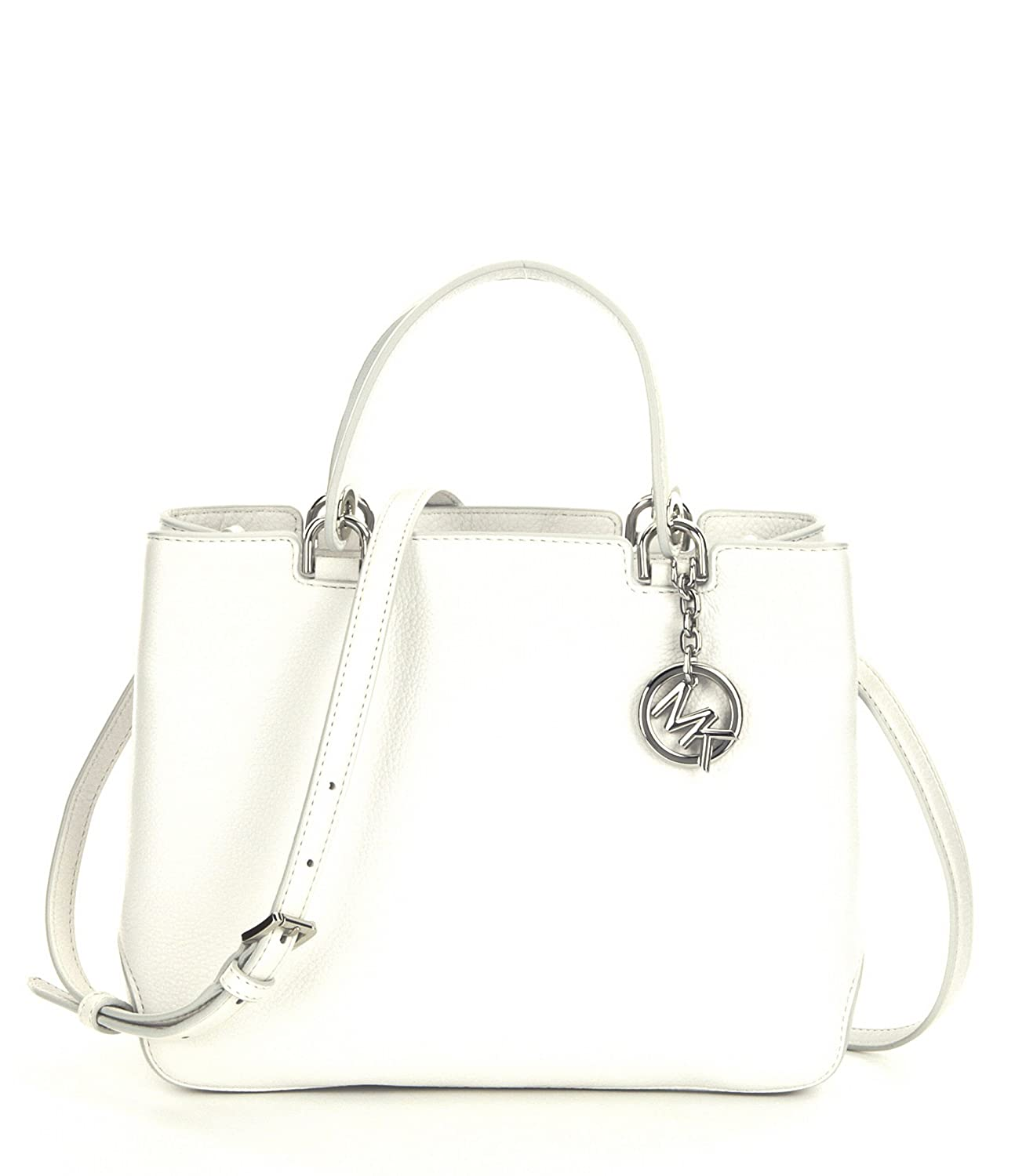 bff41ab22a7a Michael MICHAEL KORS Anabelle Medium Top Zip Leather Tote Optic White   Amazon.in  Shoes   Handbags
