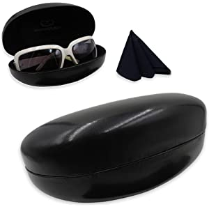c5e49257f11 MyEyeglassCase Hard Sunglasses Cases for Large to oversized frames with  cleaning cloth