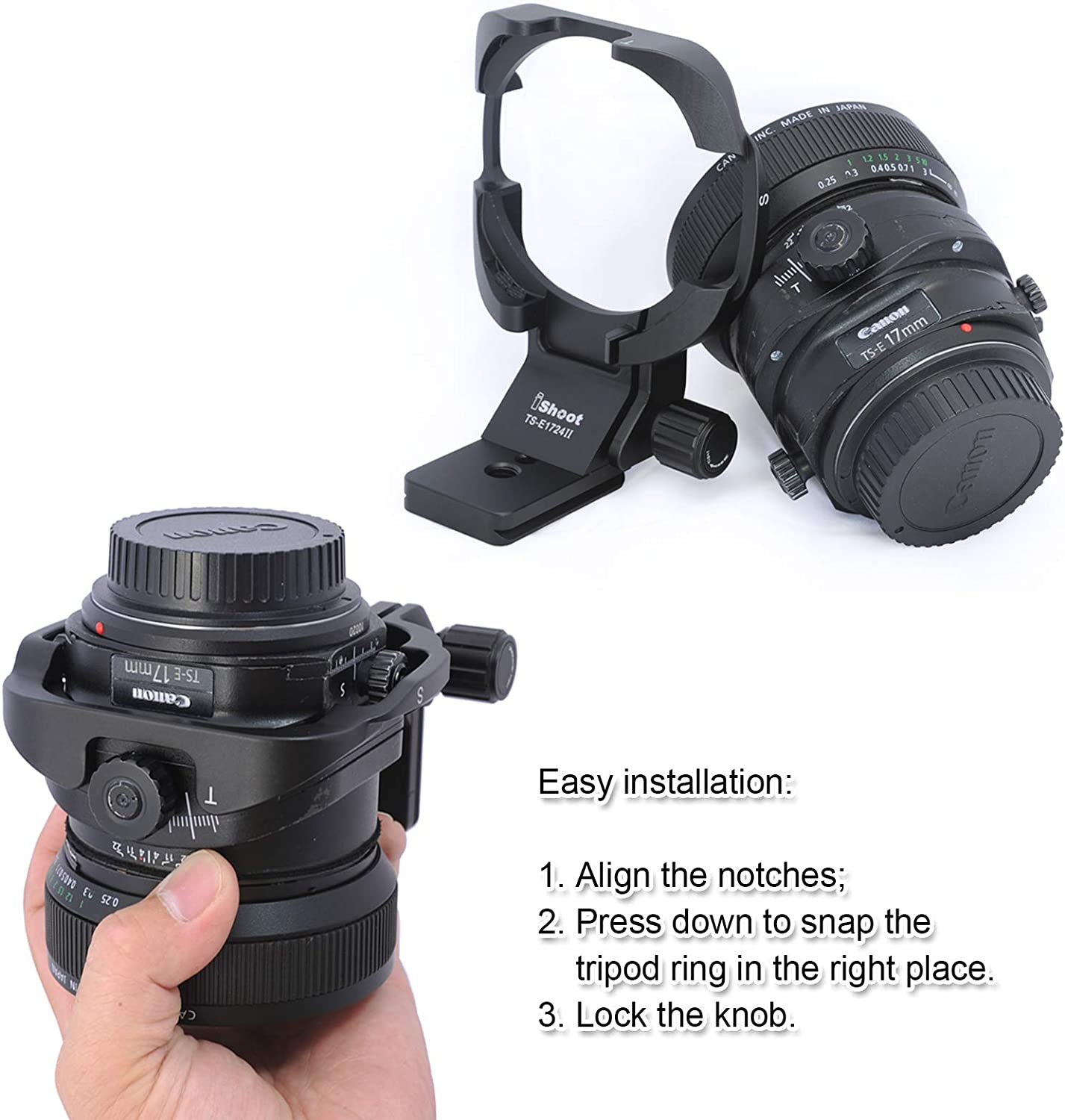 Camera Tripod Mount Ring Lens Collar for Canon TS-E 17mm f//4L and TS-E 24mm f//3.5L II Tilt-Shift Lens Built-in Arca Type Quick Release Plate with 1//4 and 3//8 Screw Hole for Arca-Swiss Tripod Head