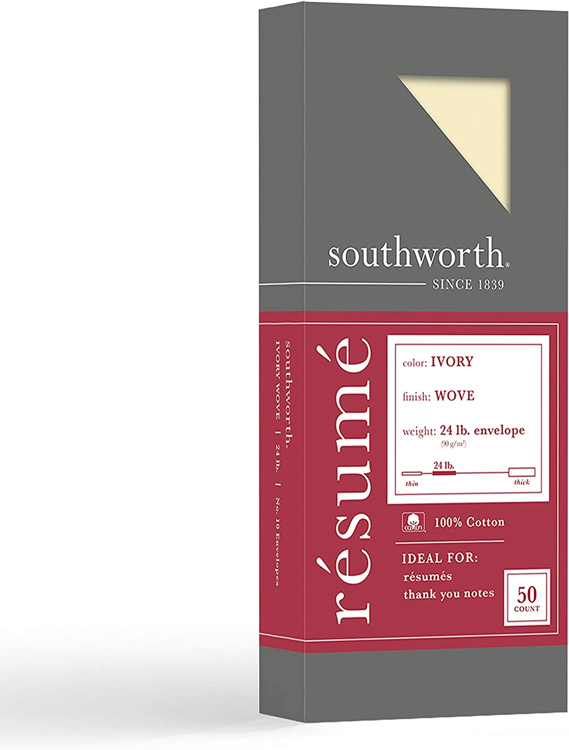 """Southworth 100% Cotton Résumé #10 Envelopes, 4.125"""" x 9.5"""", 24 lb/90 GSM, Wove Finish, Ivory, 50 Count - Packaging May Vary (R14I-10L)"""