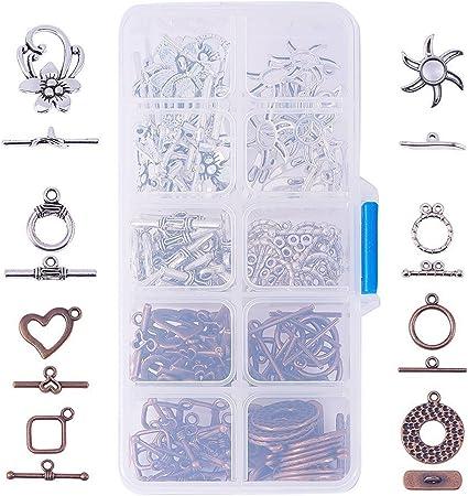 PandaHall 10 Set 3 Colori Stile Tibetano Toggle Fermagli Lega T-Bar Chiusura Anello di Chiusura per bracciali collane creazione di Gioielli