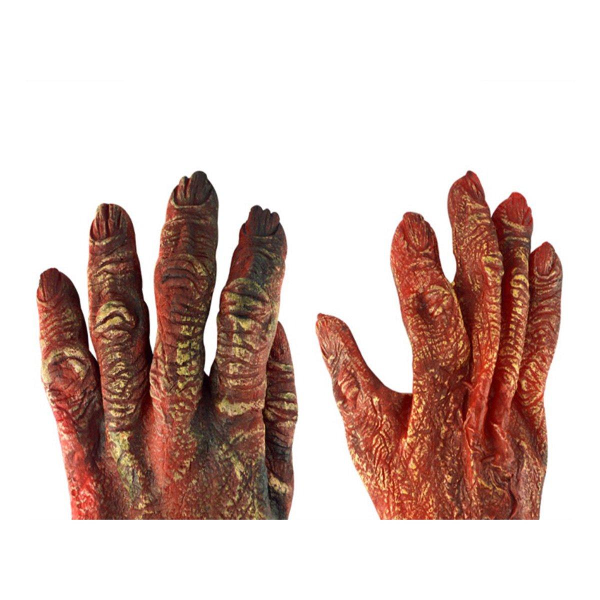 Rouge BESTOYARD Gants effrayants Halloween Festival Danse Party Props Dr/ôle Gants de Diable Gants de Zombie R/éalistes
