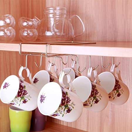 10 Hooks Mug Holder Cup Hanger Under Shelf Cabinet Coffee Kitchen Storage  Rack Cupboard Chrome Silver