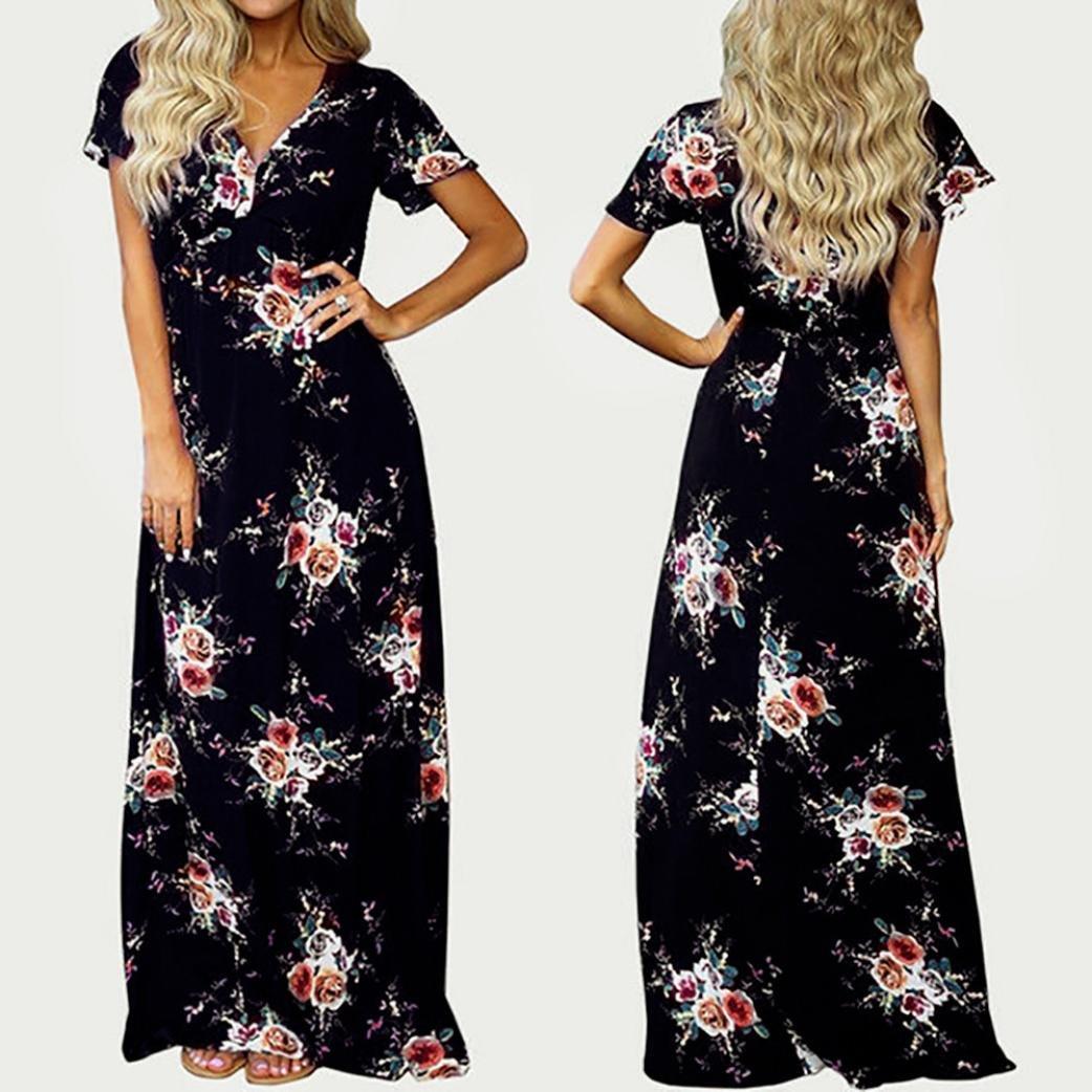 ❤️Faldas, Challeng Maxi Boho Floral, Summer Beach Long Evening, Vestido de fiesta (m, Azul marino): Amazon.es: Belleza