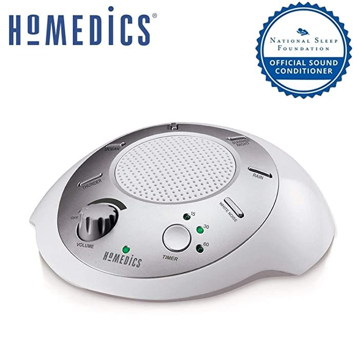 White Noise Sound Machine Portable Sleep Therapy for Home, Office, Baby & Travel 6 Relaxing & Soothing Nature Sounds, Battery or Adapter Charging Options, Auto-Off Timer HoMedics