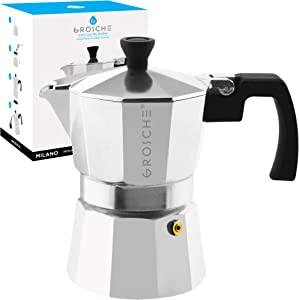 GROSCHE Milano Stovetop Espresso Maker Moka Pot 3 Cup - 5oz, Silver- Cuban Coffee Maker Stove top Coffee Maker Moka Italian Espresso greca Coffee Maker Brewer Percolator