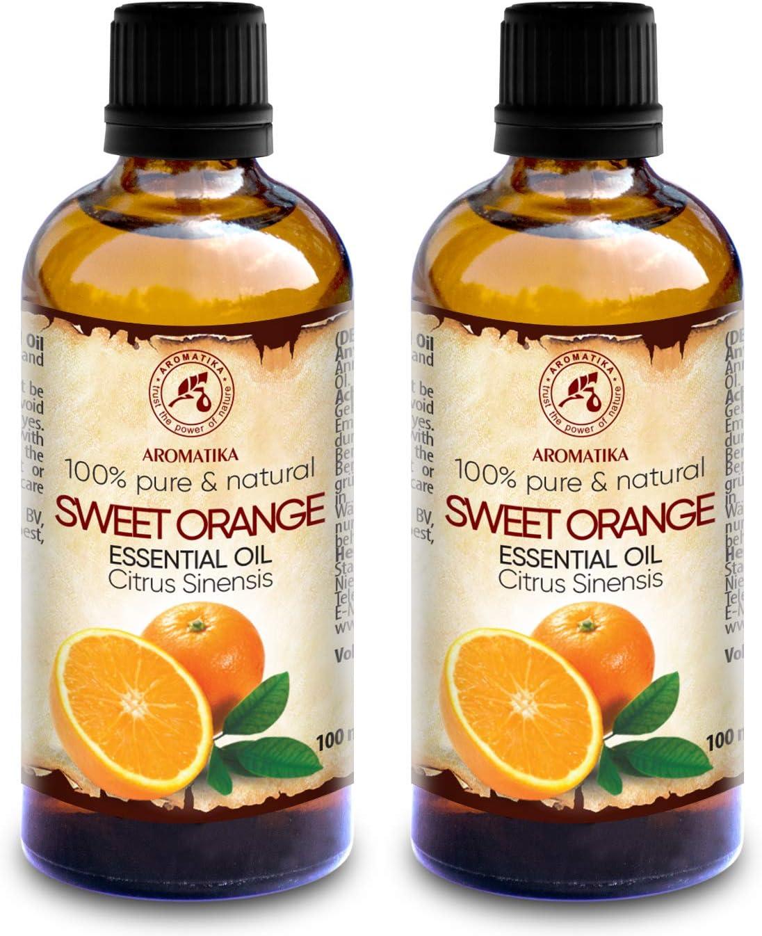 Aceite Esencial Naranja 200ml - 2x100ml - 100% Puro & Natural - Brasil - Efecto Contra la Celulitis - Mejor para Belleza - Aromaterapia - Masaje - Baño - Difusor - para un Buen Sueño