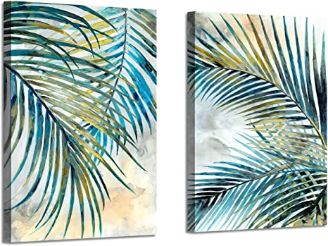 Amazon Com Abstract Palm Leaves Wall Art Tropical Ferns Leaf Graphic Art Print On Wrapped Canvas Set For Dining Rooms 12 W X 16 H X 2 Pcs Multi Sized Kitchen Dining
