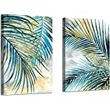 Abstract Palm Leaves Wall Art: Tropical Ferns Leaf Graphic Art Print on Wrapped Canvas Set for Dining Rooms (16'' x 12…