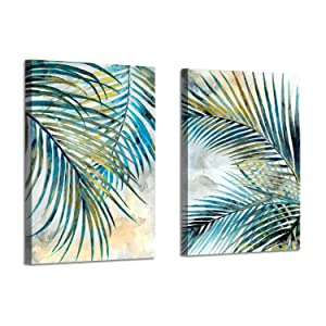 Abstract Palm Leaves Wall Art: Tropical Ferns Leaf Graphic Art Print on Wrapped Canvas Set for Dining Rooms (16'' x 12'' x 2 Panels)