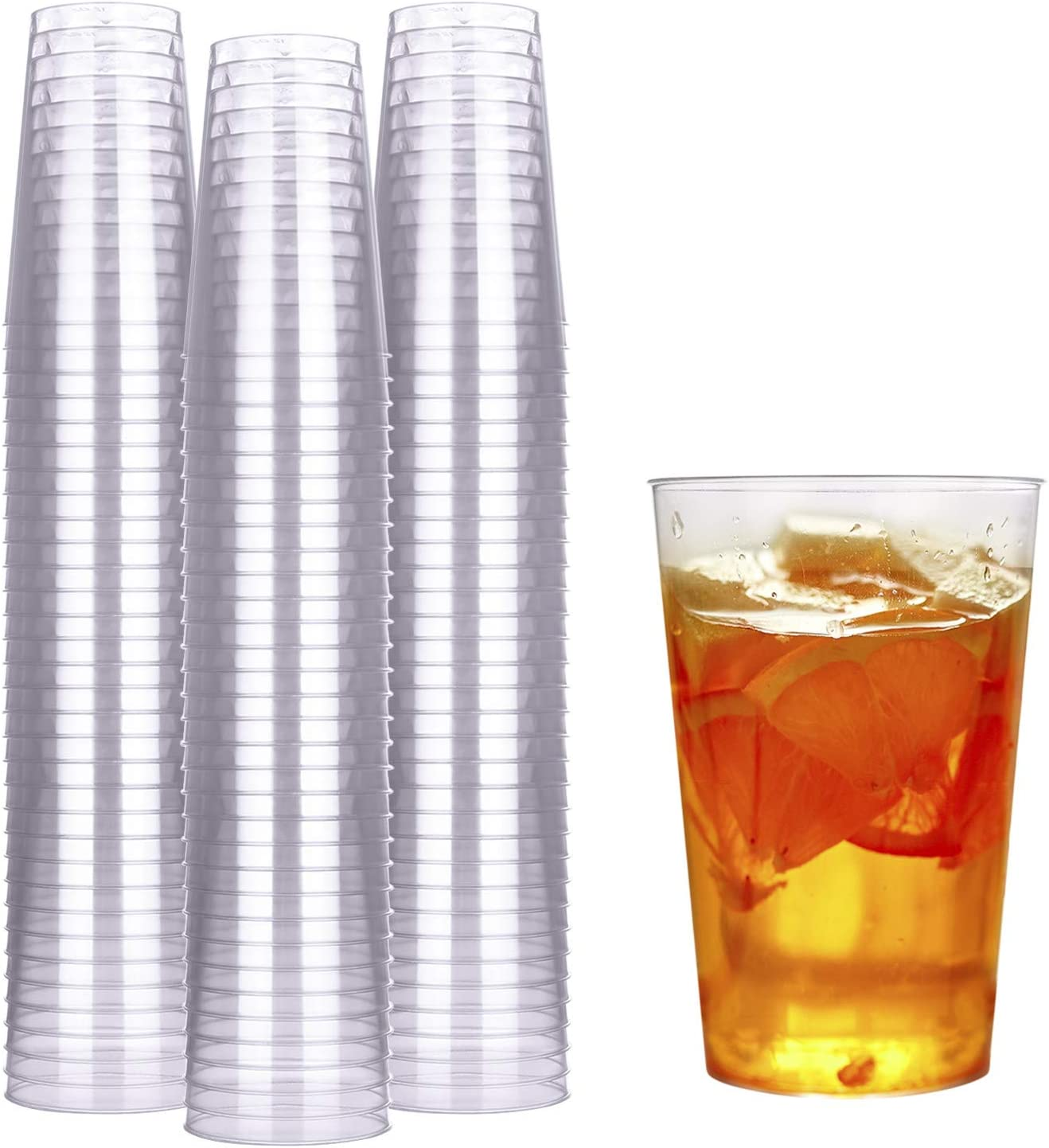 HyHousing 10 Oz Plastic Cups, 100 PACK Clear Plastic Cups Tumblers Disposable Cups Perfect for Daily Life at Home, Party, Wedding, Wine Tasting (T10-100)