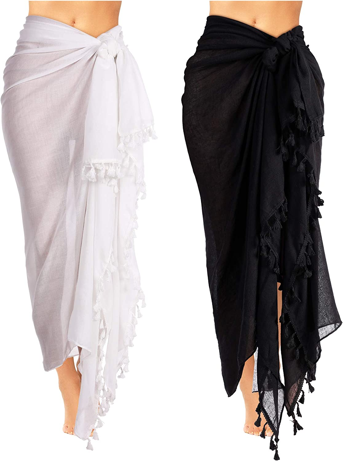 2 Pieces Women Beach Batik Long Sarong Swimsuit Cover Up Wrap Pareo With Tassel For Women Girls At Amazon Women S Clothing Store