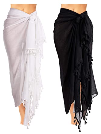 19302c5b83 2 Pieces Women Beach Batik Long Sarong Swimsuit Cover up Wrap Pareo with  Tassel for Women