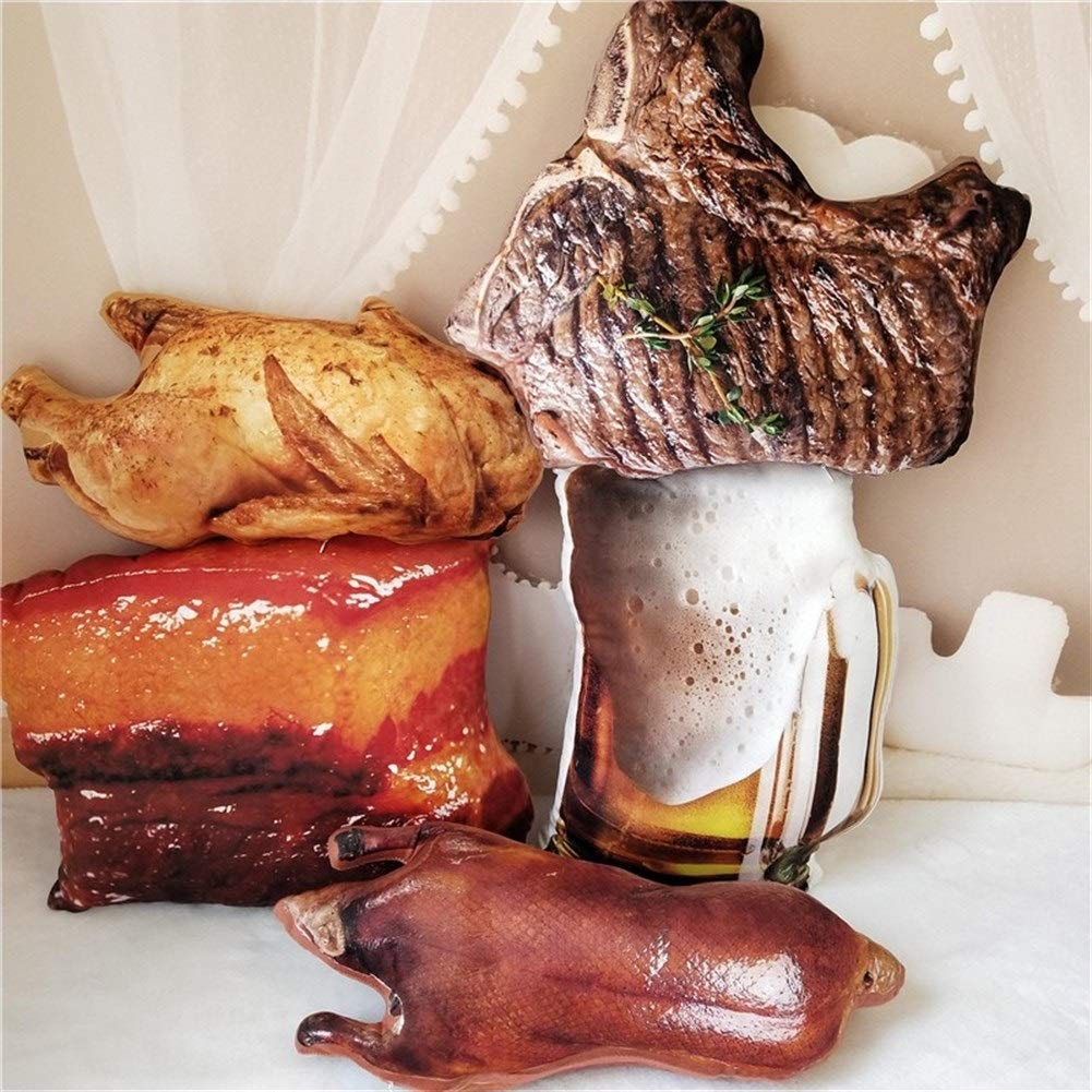 Color : Beef Steak Yuhualiyi123 Cibo Realistico Peluche Ripieno Birra Bicchiere Manzo Bistecca Arrosto di Pollo Anatra Stufata Cuscino di Maiale BBQ Barbecue Bevanda analcolica Snack Prop Cuscino