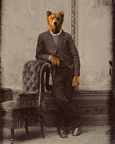 Amazoncom Victorian Bear Man Altered Gentleman Portrait Anthro Art