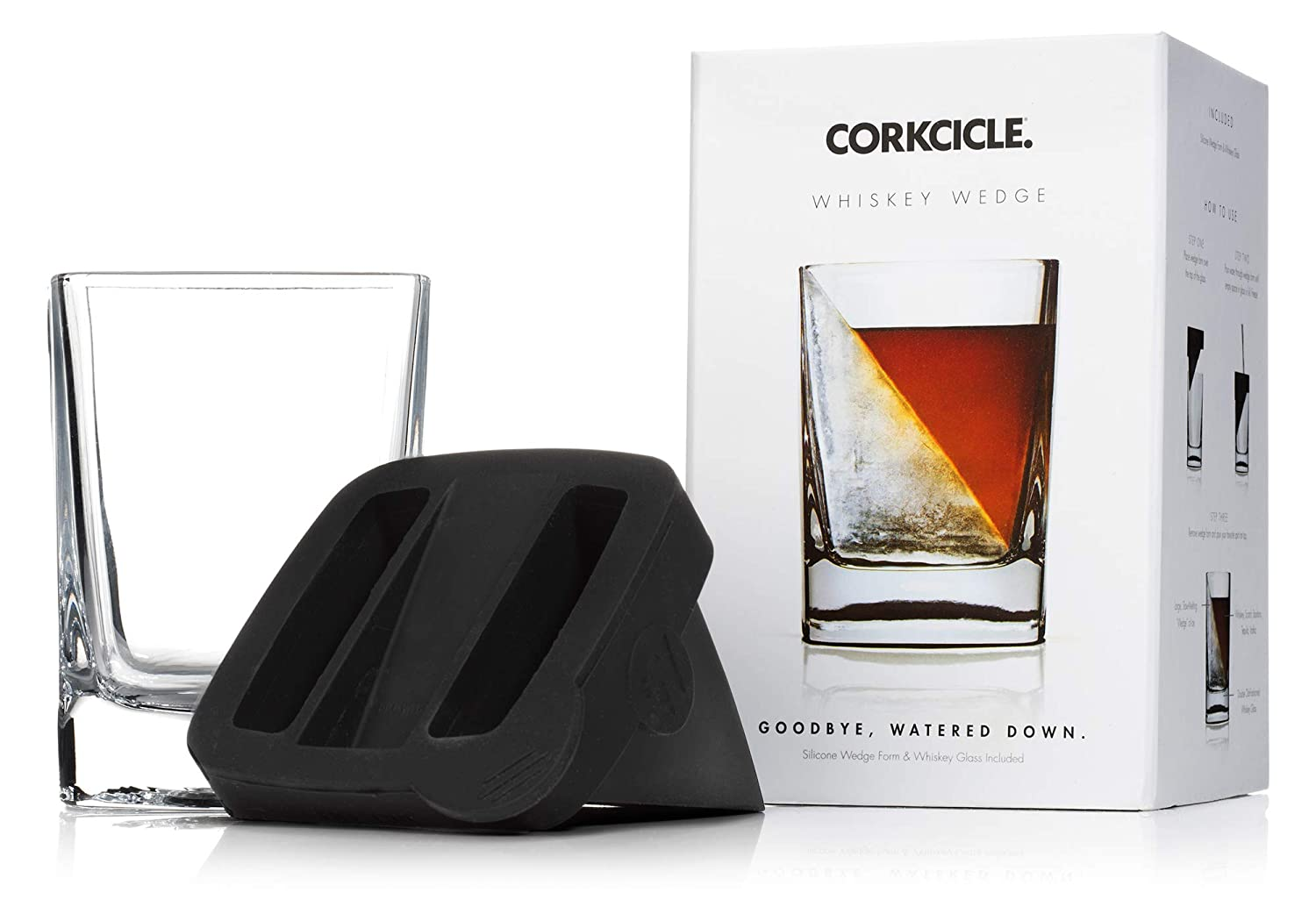 Corkcicle Whiskey Wedge Whiskey Glass with Silicone Ice Form, Clear 7001
