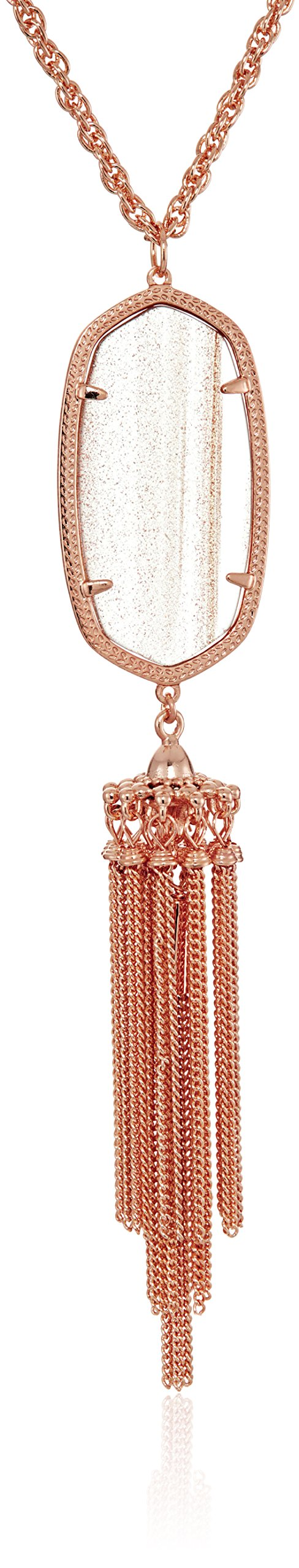 Kendra Scott Signature Rayne Rose Gold Dusted Glass Pendant Necklace, 30'' + 2''  Extender