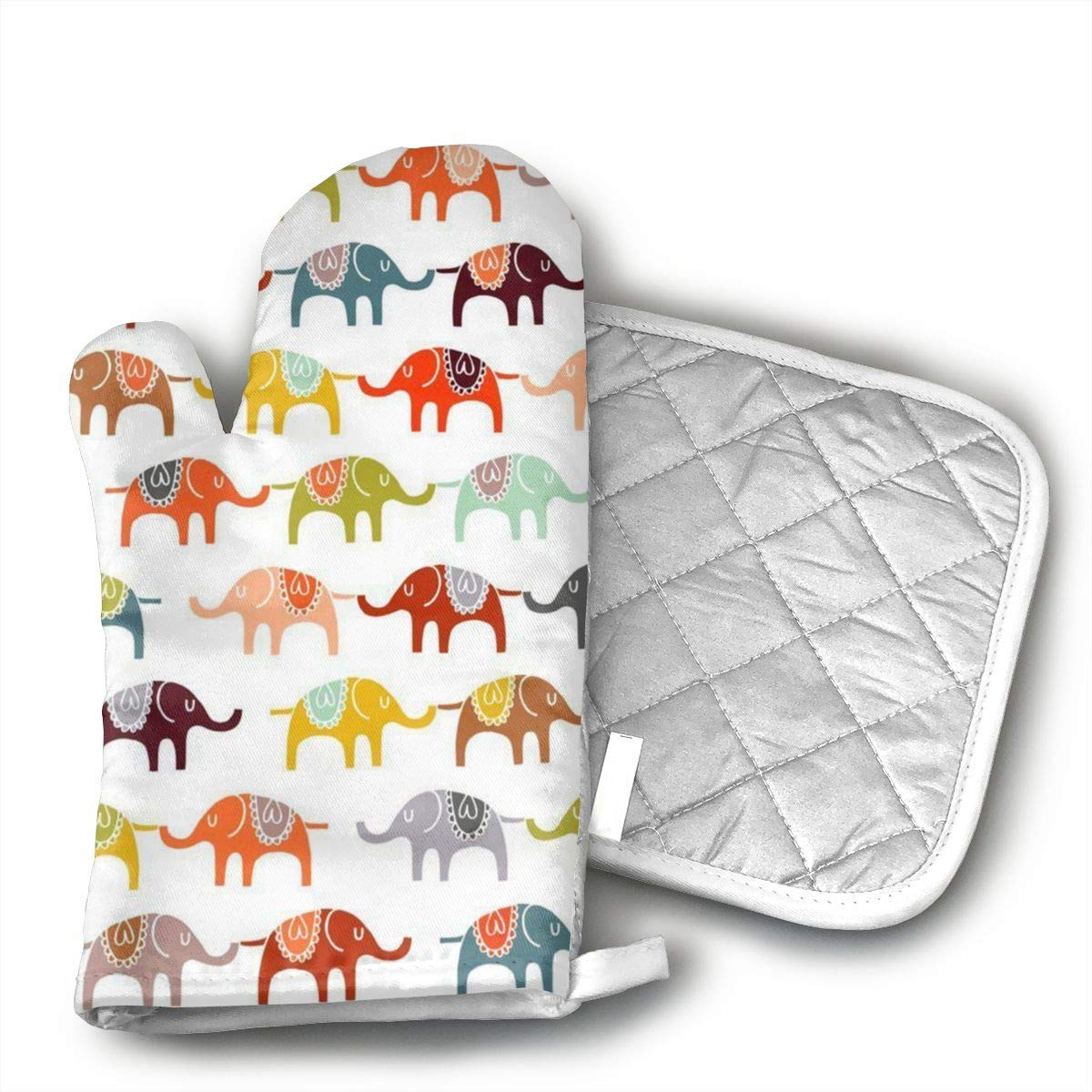 Jiqnajn6 Circus Elephant Oven Mitts,Heat Resistant Oven Gloves, Safe Cooking Baking, Grilling, Barbecue, Machine Washable,Pot Holders.