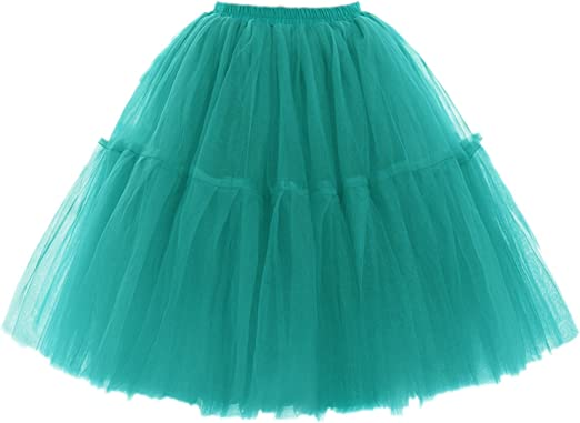 5 Layers Tulle Tutu Skirts Prom Party Petticoat Slip 100cm Length Underskirt