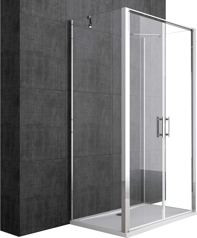 Mampara 80 x 120 cm ducha cabina ravenna50 K Marco de Aluminio de ...