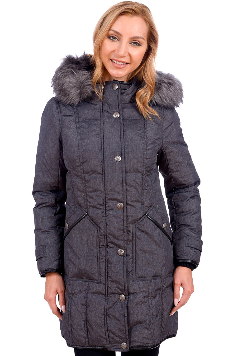 RedX Canada Women's Parka Winter Coat With Faux Fur Lined Hood (2X, Charcoal)