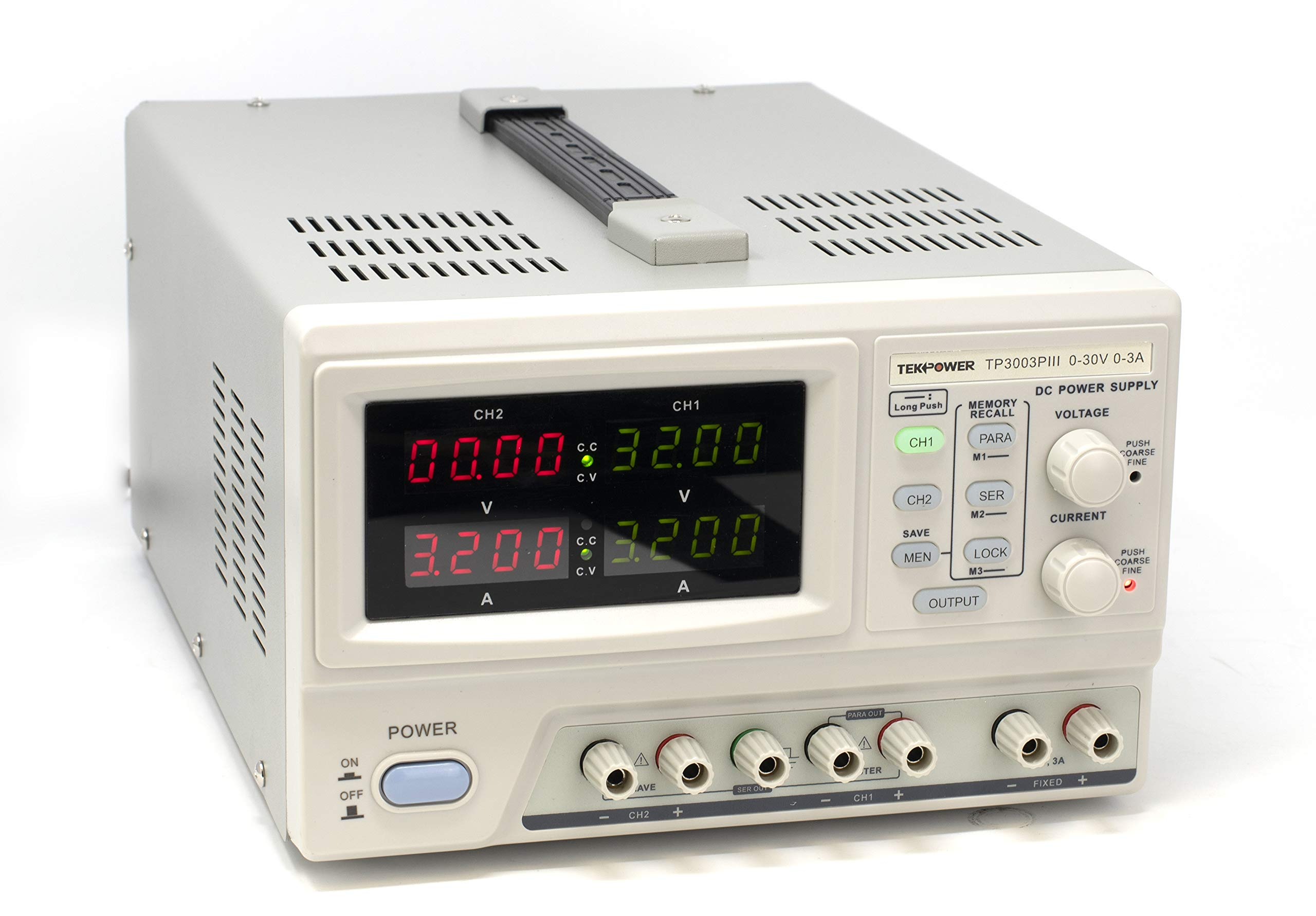 Tekpower TP3003PIII Programmable Variable Regulated Triple Output DC Power Supply, 0-30V at 0-3A