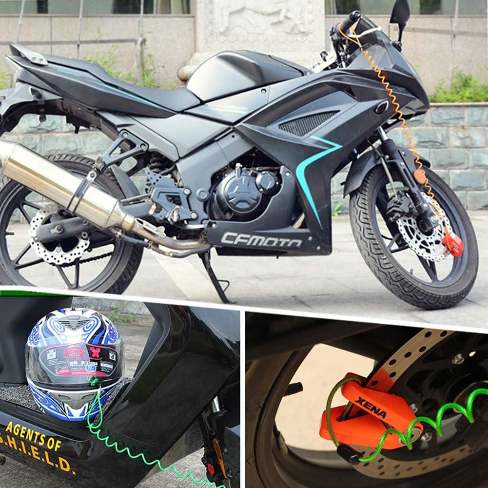 1pc Rappel C/âble Disque C/âble De S/écurit/é Antivol Fil dacier Ressort Rappel Corde pour Scooter Moto Moto V/éhicule Bagages Casque Lock Orange