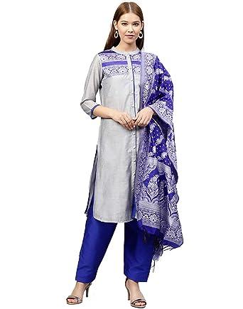 c1b23af416 Jaipur Kurti Women's Straight Salwar Suit Set (JKPTD3485-XS_Grey & Royal  Blue_X-Small