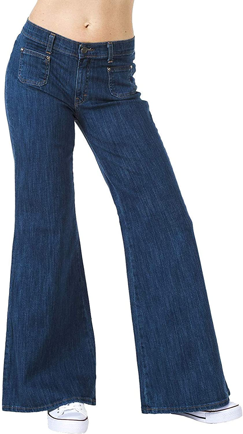 "Run & Fly Women's 60S 70S Stretch Wide Bell Bottoms Flares Hippie Vintage UK 20/US 16-33"" Leg, Long Blue"