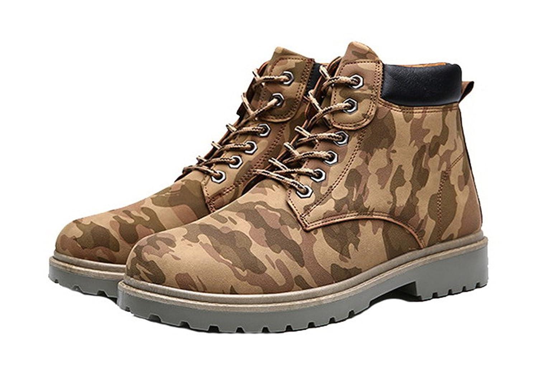 AgeeMi Shoes Herren Rund Zehe Kurzschaft Stiefel Erwachsene Hohe Sneakers Khaki