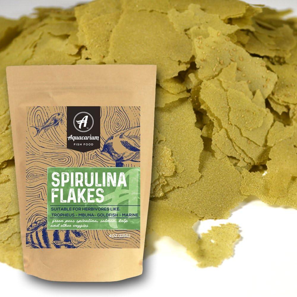 Aquacarium Spirulina Flakes Natural Fish Food (6oz)