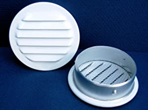 Maurice Franklin Louver-2 Inches Round White Aluminum Louver with Insect Screen (Priced Per Bag of 6). RLW-100