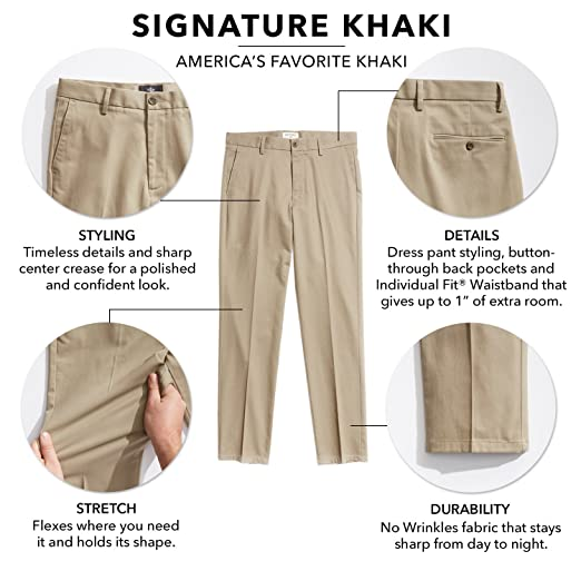 59c6dad82db9a3 Dockers Men's Classic Fit Signature Khaki Pants D3 at Amazon Men's Clothing  store: