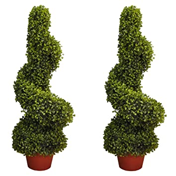 pair of artificial topiary swirl trees bushes 80cm high suitable