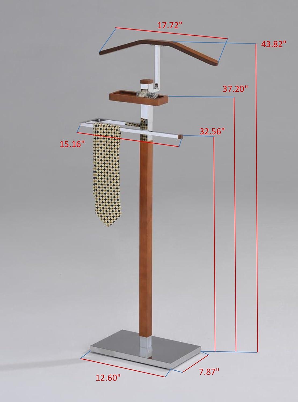 King S Brand Chrome Tabacco Modern Wood Metal Suit Valet Rack Stand Organizer Furniture Decor Amazon Com