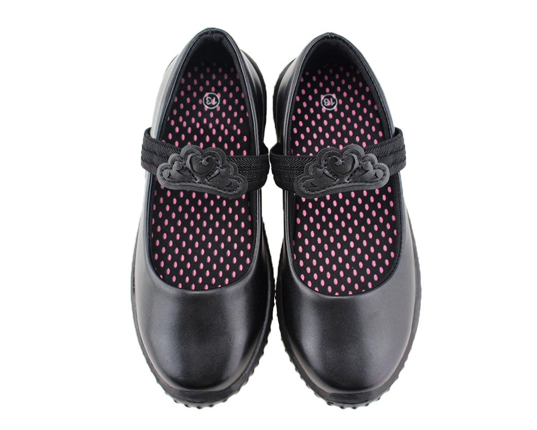Jabasic Girl's Mary Jane School Uniform Shoes (10 M US Toddler, Black-2)