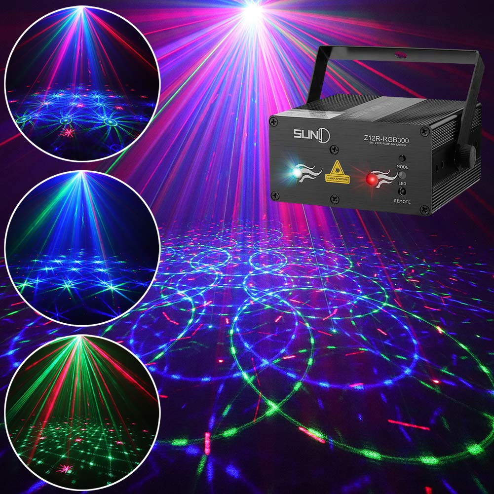 SUNY Laser Lights DJ Stage Lighting 12 Gobos Green Blue Laser Light Red Stars Mixed Effect Stage Lighting Party Music Laser Projector Remote Control Sound Activated Dance Home Decor Xmas Holiday Show by SUNY