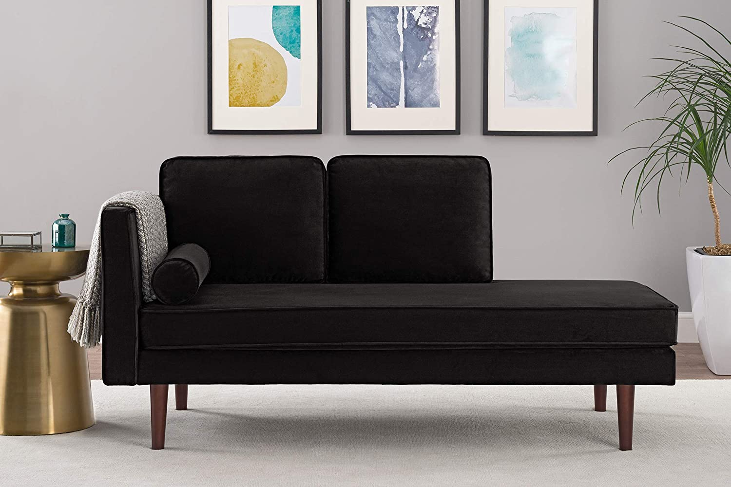 DHP Nola Mid Century Modern Upholstered Daybed and Chaise, Multifunctional and Versatile, Black Velvet 2193059