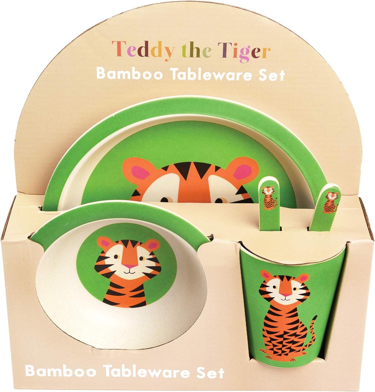 avec Assiette Teddy The Tiger Tasse et Couverts Rex London 28524 Set de Vaisselle pour Enfants en Fibre de Bambou Bol