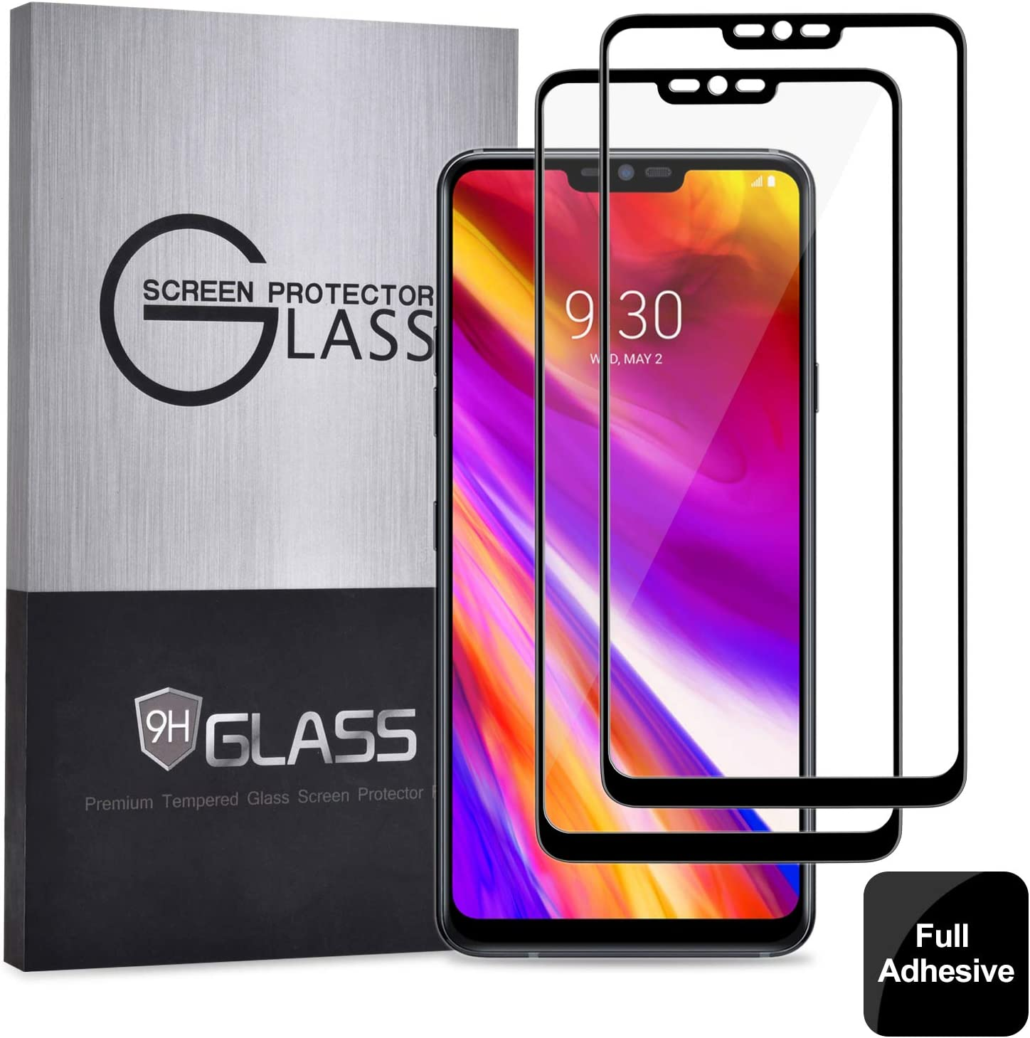 Elebase LG G7 ThinQ Screen Protector (2 Packs),Full Glue, Anti-Scratch, HD Clear, Case Friendly, 3D Protective Tempered Glass for LG G7 ThinQ(Black2 Pack)