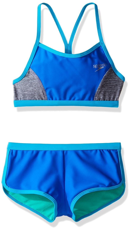 Speedo Girls Heather Splice Boyshort Two Piece Swim Shorts Bikini Set Speedo Children' s Apparel 7714704-P