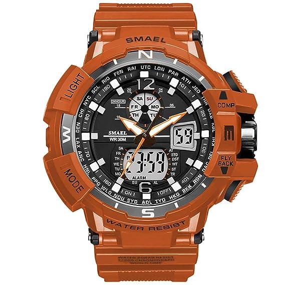 PAPAKOO Reloj de Pulsera Hombre Reloj Deportivo Militar Reloj Smart Moda Reloj de Pulsera Reloj Pulsera Digital LED-Orange-WCH1376-ORANGE: Amazon.es: ...