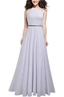 Mmondschein Womens Vintage Halter Wedding Bridesmaid Chiffon Long Dress