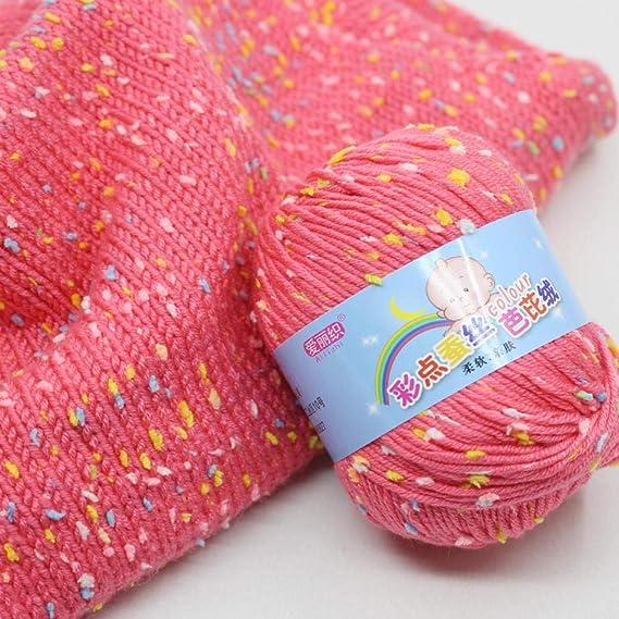 Fantasía lana color copo de nieve seda proteína línea gruesa ...
