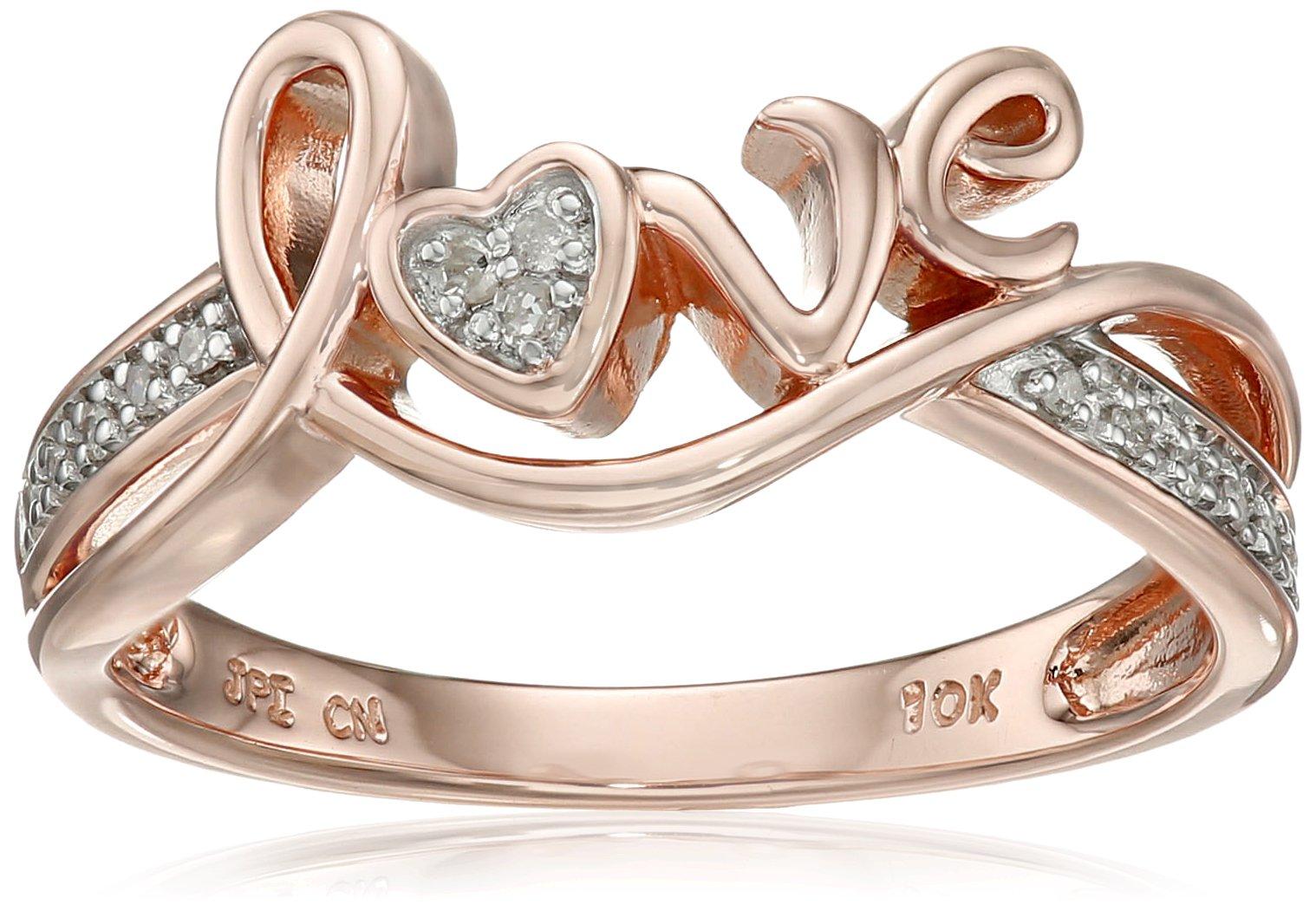 10k Rose Gold Love Diamond Ring (0.05 cttw, I-J Color, I2-I3 Clarity), Size 8